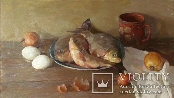 ''Натюрморт с рыбой''. 51х77 см Жданова Виктория