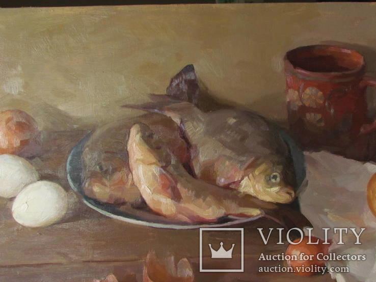 ''Натюрморт с рыбой''. 51х77 см Жданова Виктория, фото №3