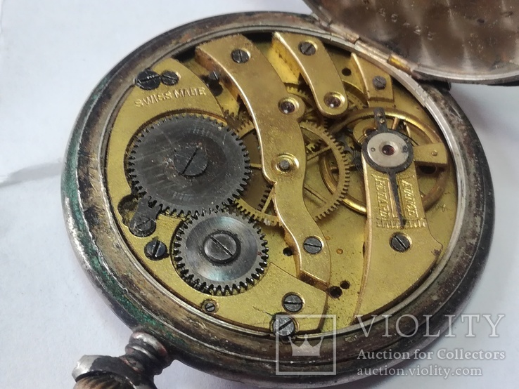 Серебряный корпус часов с механизмом. Swiss made.