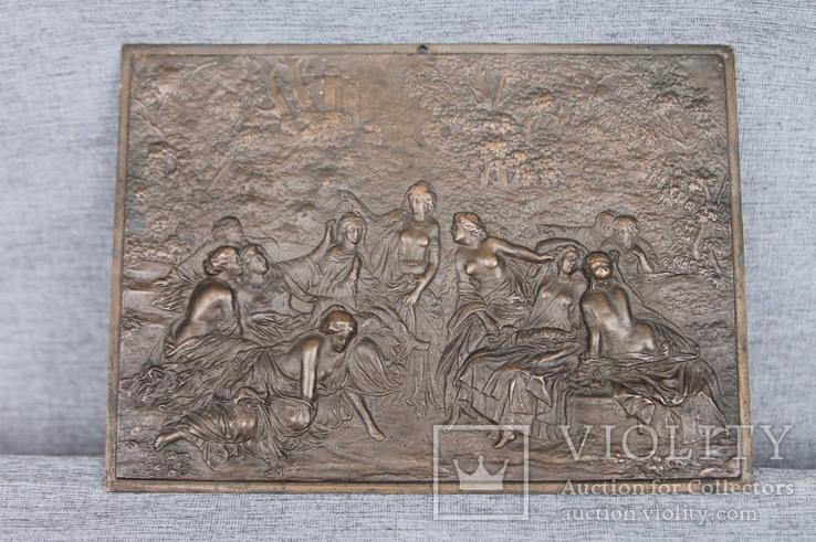 Картина рельефная ''грации в лесу'' бронза вес 930 грам, фото №2
