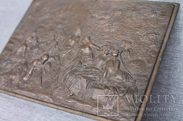 Картина рельефная ''грации в лесу'' бронза вес 930 грам, фото №6