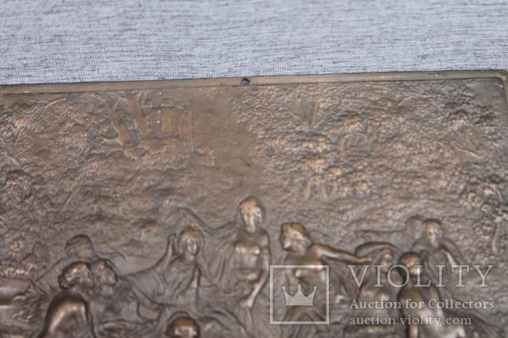Картина рельефная ''грации в лесу'' бронза вес 930 грам, фото №8