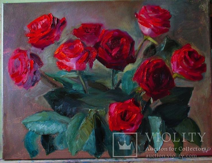 Красные розы, 40х30 см.