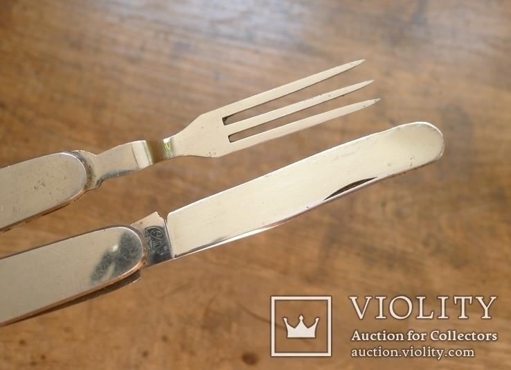 Винтажный набор туриста, нож и вилка складные. Европа. Клеймо., фото №6