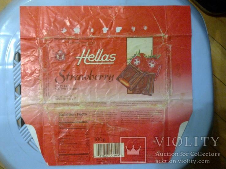 """Обертка (фантик) от шоколада """"Hellas"""" клубника, Финляндия, фото №2"""
