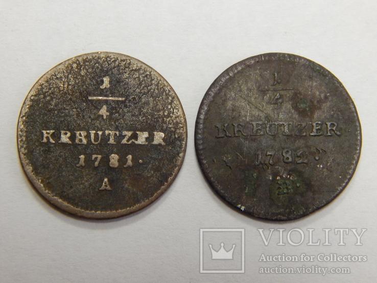2 монеты по 1/4 крейцера 1781/82 г.г. Австрия