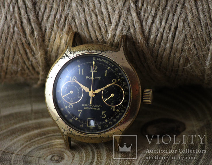 Часы Полет Хронограф 23 камня Позолота Калибр 3133
