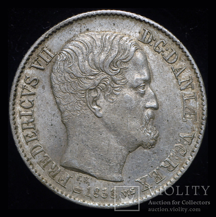 Дания 16 скиллингов 1858 Unc  серебро