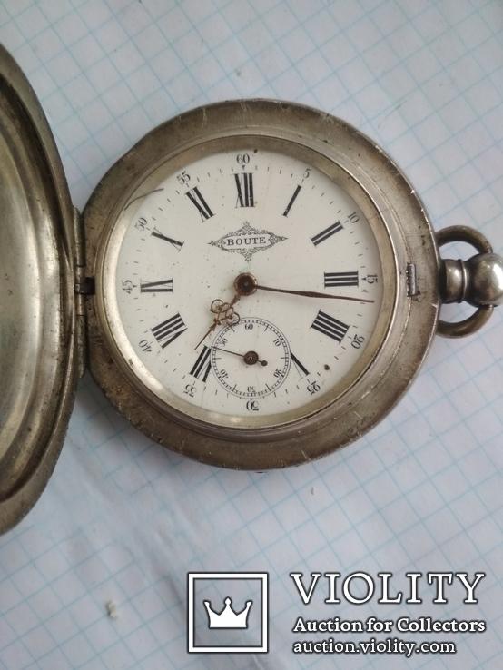 Огромные карманные часы   boute серебро 84 пробы