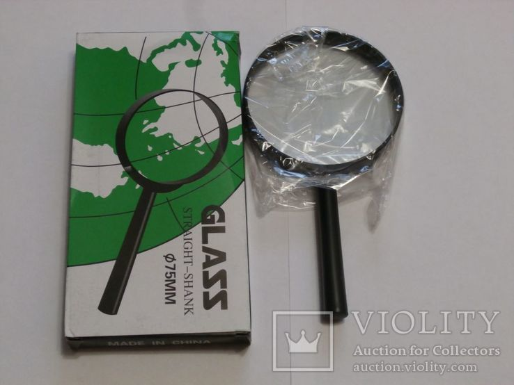Лупа ручная Glass Straight Shank , диаметр 75 мм, фото №2