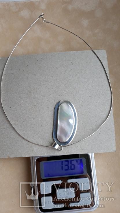 Серебряное колье с перламутром, фото №3