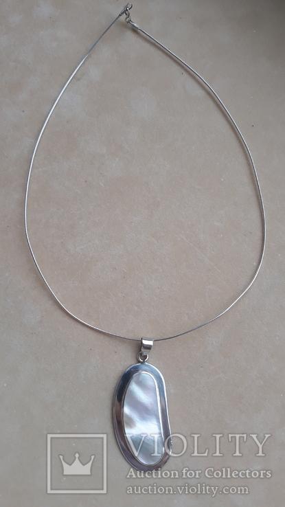 Серебряное колье с перламутром, фото №4
