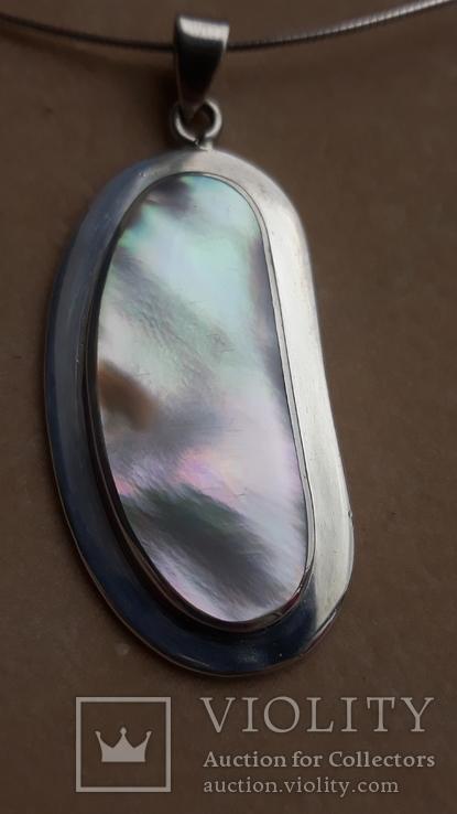 Серебряное колье с перламутром, фото №11