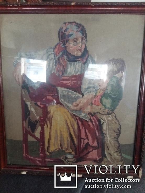 Гобелен Германия конец 19 го века Бабушка с внуком, фото №3