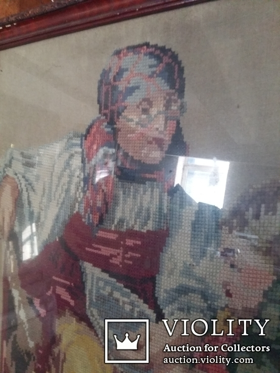 Гобелен Германия конец 19 го века Бабушка с внуком, фото №6