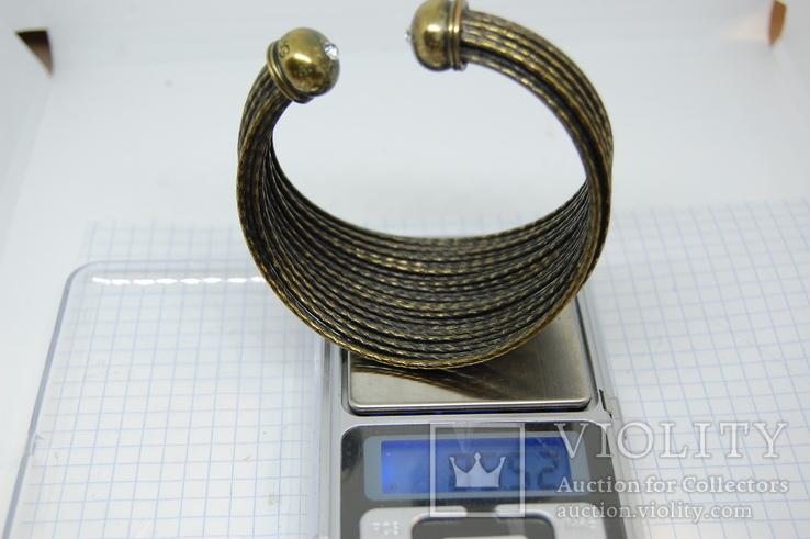 Широкий жесткий браслет с маркировкой MNG (Mango), фото №3
