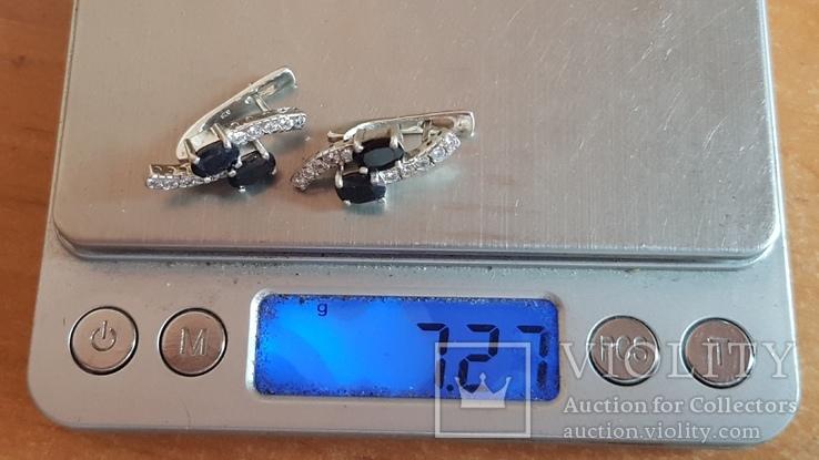 Серьги 925 проба серебро. Вес 7.40 г. Камни Синего цвета., фото №3