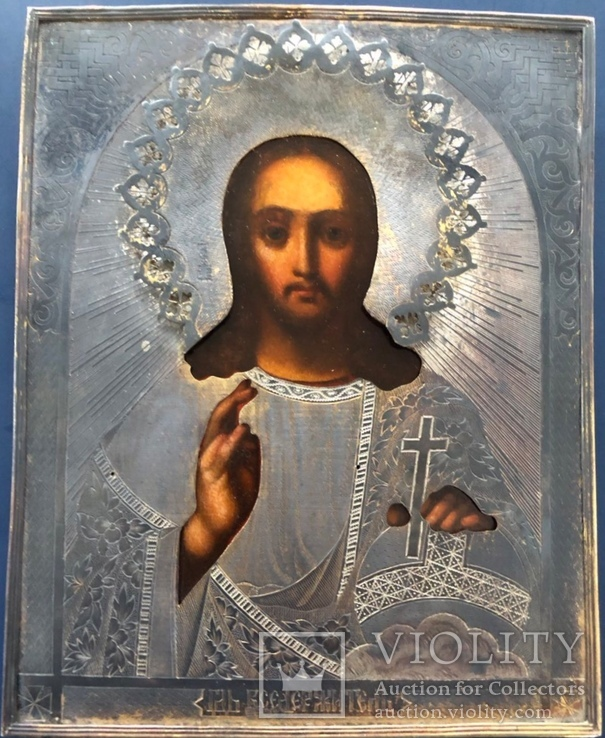 Икона Спас, оклад 84, позолота, съёмная рама