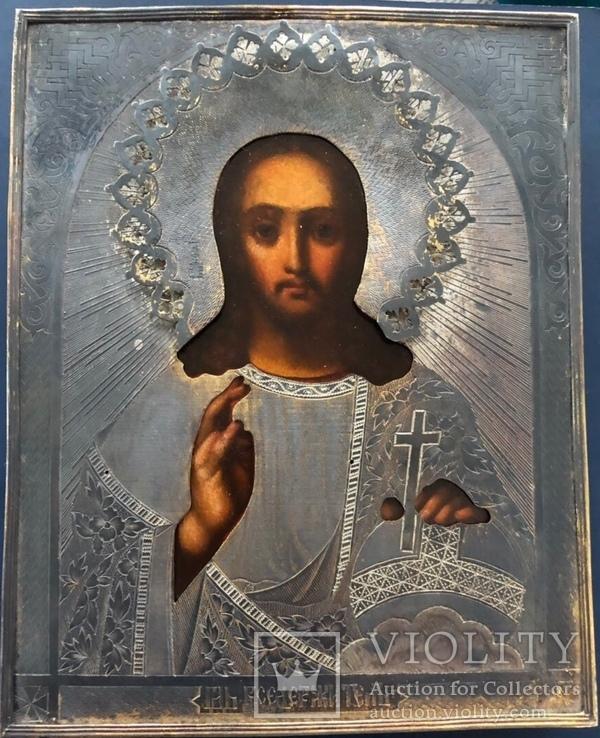 Икона Спас, оклад 84, позолота, съёмная рама, фото №9