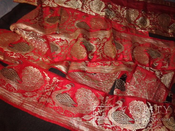 Серебряные павлины на красном., фото №6