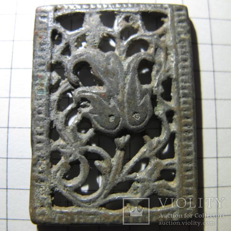 Османская узорчатая ременная накладка с остатками серебра, фото №2