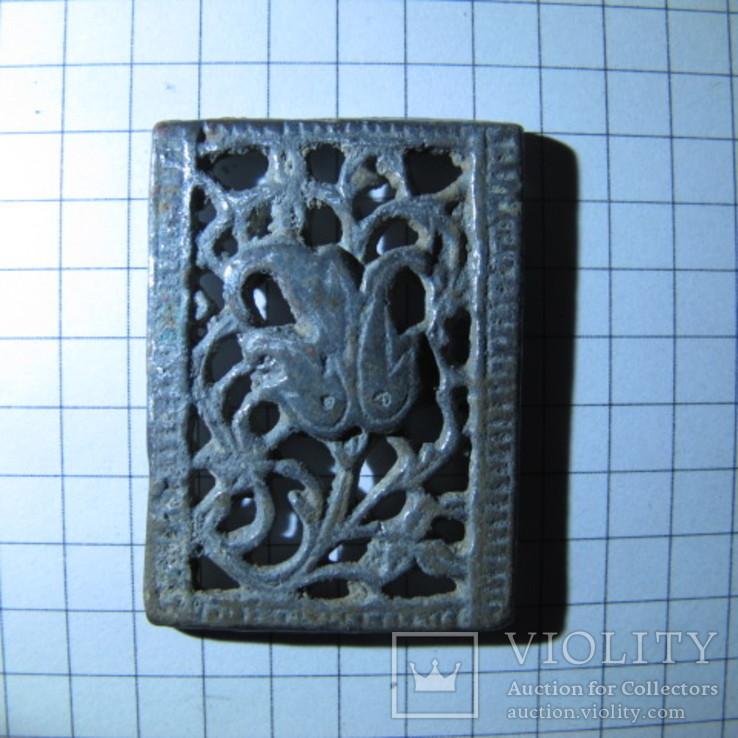 Османская узорчатая ременная накладка с остатками серебра, фото №6