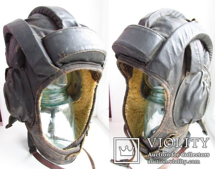 Утепленный зимний трех реберный танковый шлем кожзам., фото №6