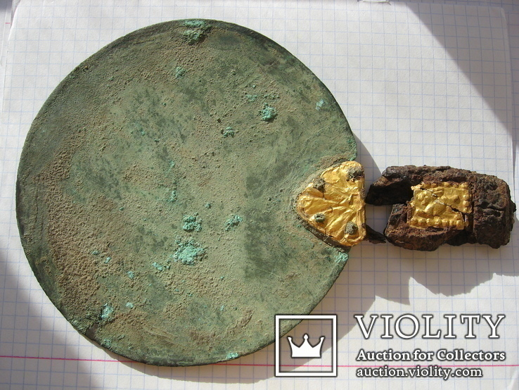 Скифское зеркало с золотыми пальметтами 5-4в.до н.э и бляшками звер.стиля в рукояти, photo number 10