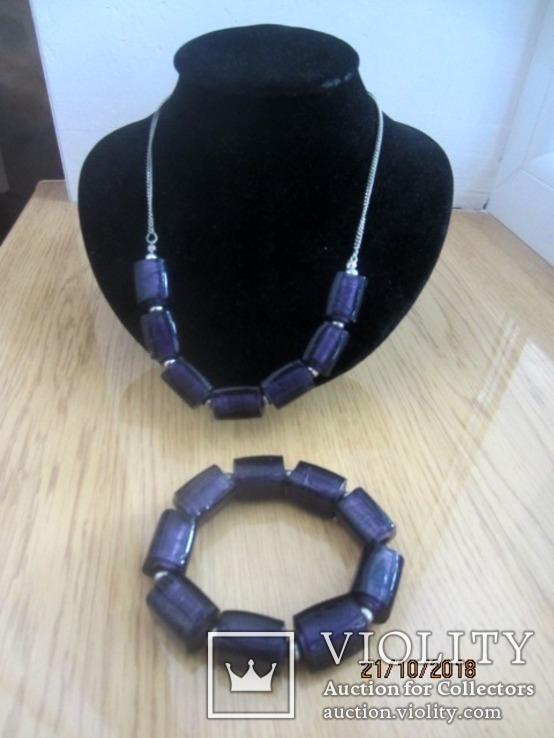 Кулон и браслет Marks&Spencer фиолетовое стекло, фото №2