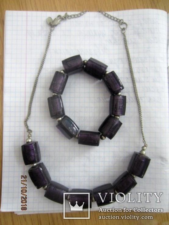 Кулон и браслет Marks&Spencer фиолетовое стекло, фото №7