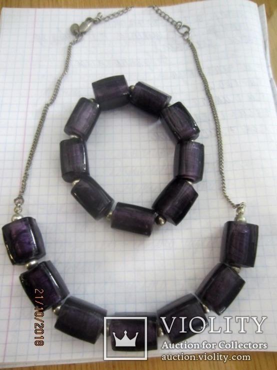 Кулон и браслет Marks&Spencer фиолетовое стекло, фото №11