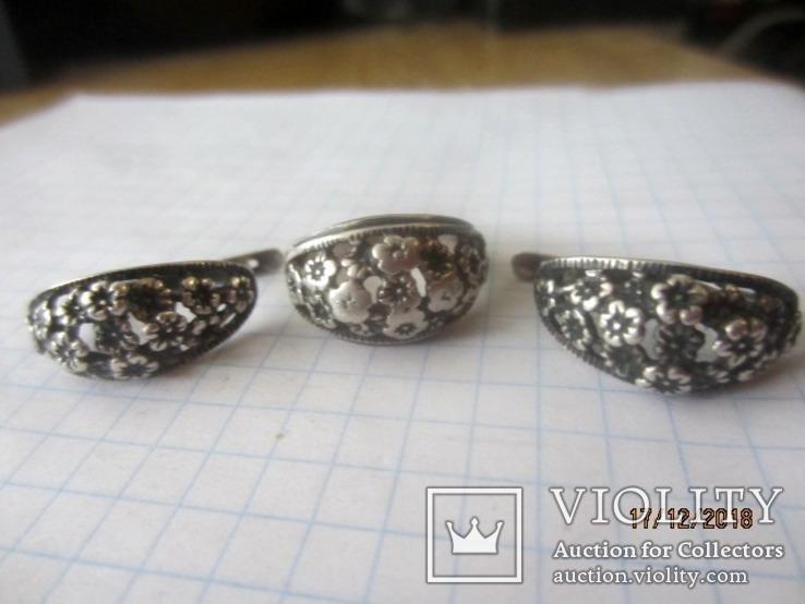 Кольцо и серьги серебро 875 звезда cccp