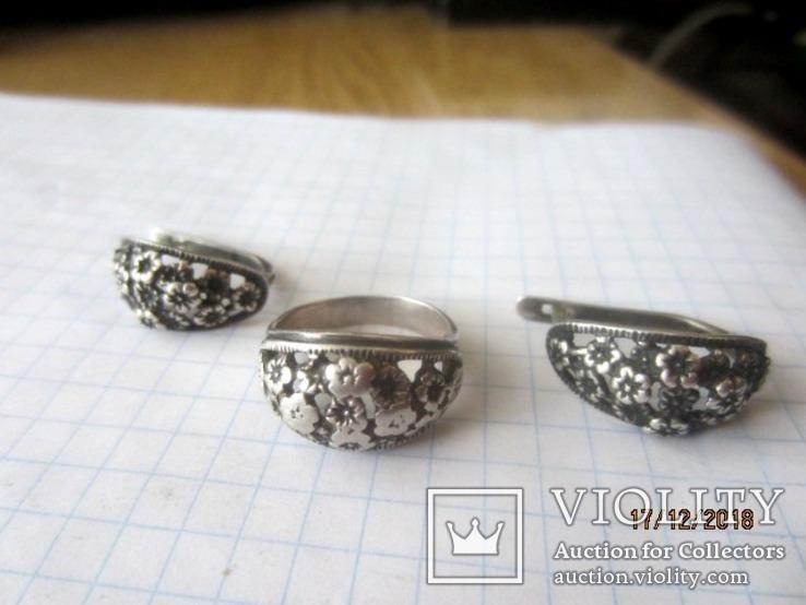 Кольцо и серьги серебро 875 звезда cccp, фото №3