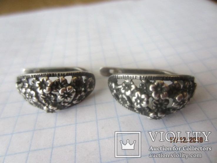 Кольцо и серьги серебро 875 звезда cccp, фото №6