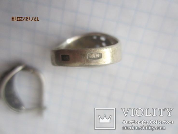 Кольцо и серьги серебро 875 звезда cccp, фото №9
