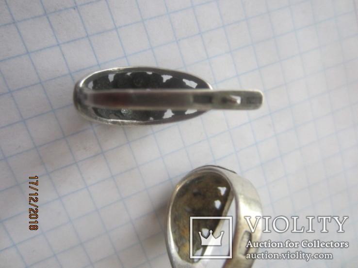 Кольцо и серьги серебро 875 звезда cccp, фото №10