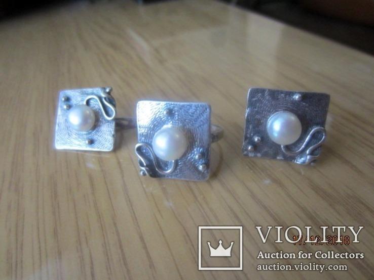 Жемчуг белый, серебро 925, комплект кольцо и серьги,, фото №3