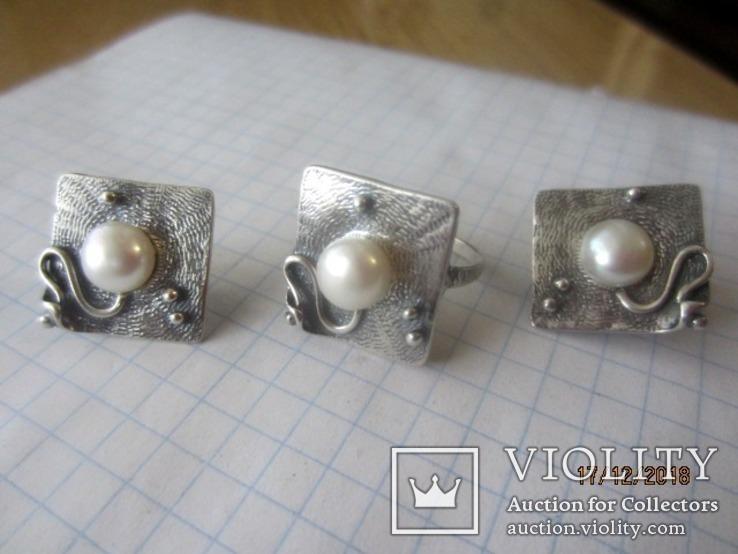 Жемчуг белый, серебро 925, комплект кольцо и серьги,, фото №5