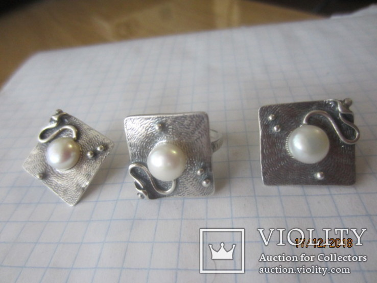 Жемчуг белый, серебро 925, комплект кольцо и серьги,, фото №10
