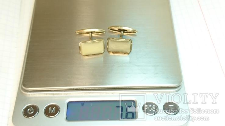 Запонки серебро 875 со звездой ,7,6 грамм ,камень ., фото №9