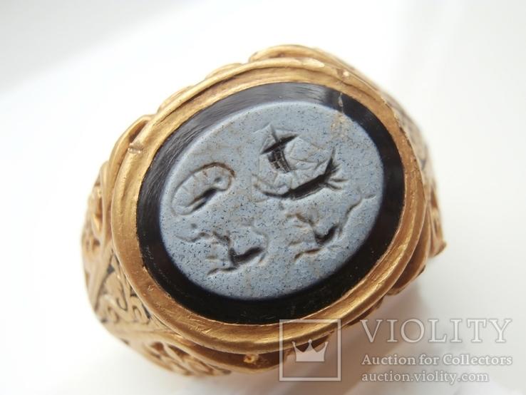 Римский перстень с геммой . Инталия .I-II век., фото №3
