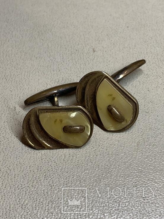 Запонки со вставкой перламутра, фото №2