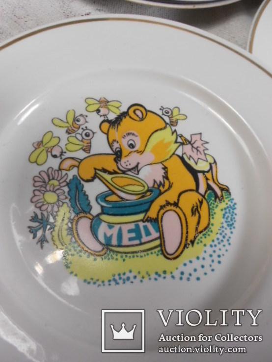 Тарелки мелкие детские Мишка мед 18 штук СССР, фото №4