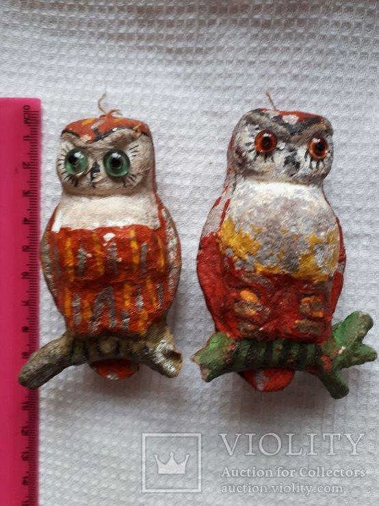 Елочная игрушка две совы филина цена за оба