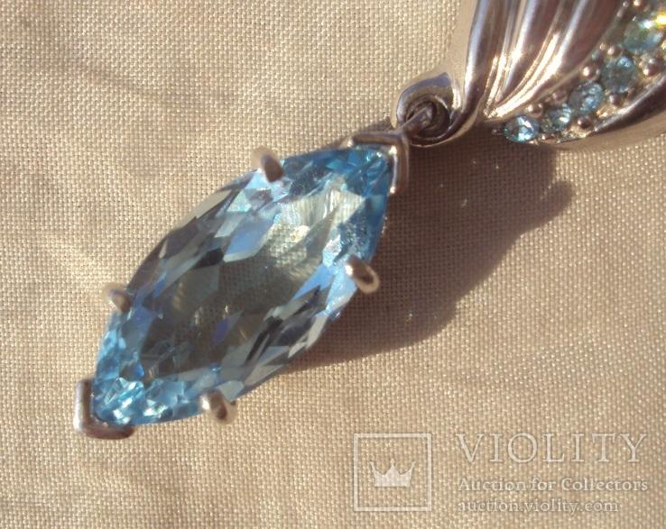 Фирменный кулон, серебро, камни., фото №6