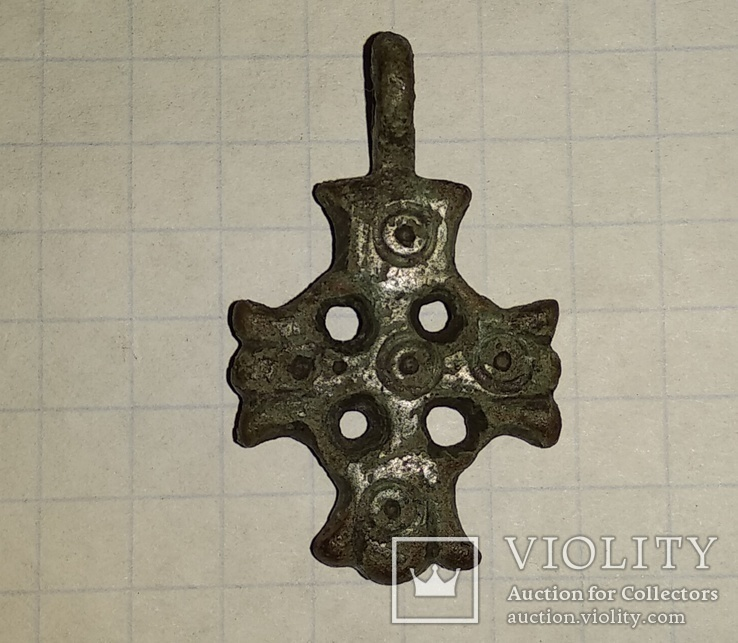 Крест К.Р. (Криновидный, с солярными знаками прорезной) 10-11век, фото №3