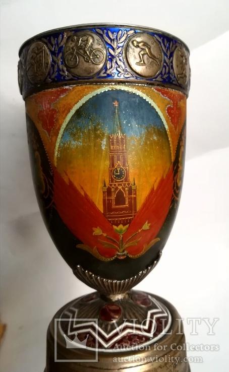 Кубок Кремль Палех Авторская роспись М. Парилов 1953г, фото №3