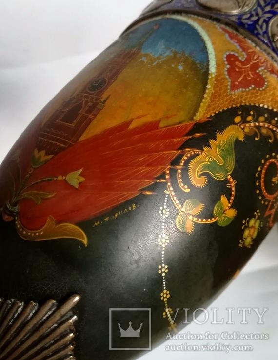 Кубок Кремль Палех Авторская роспись М. Парилов 1953г, фото №5
