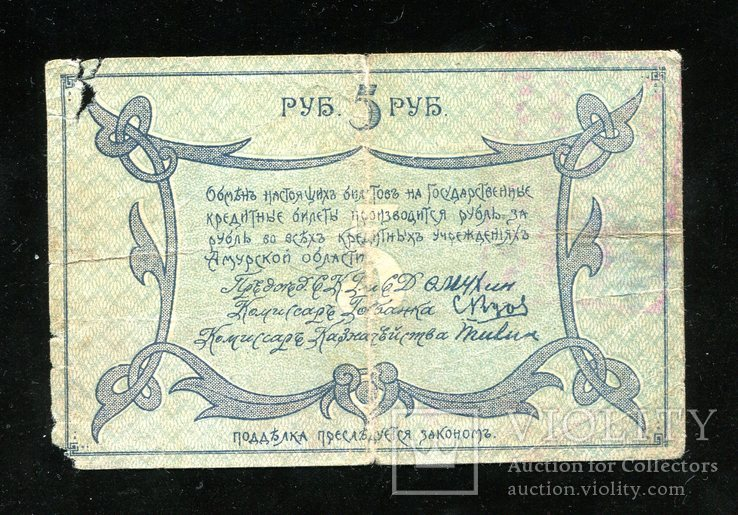 Амурский областной разменный билет 5 руб 1918 года, фото №3