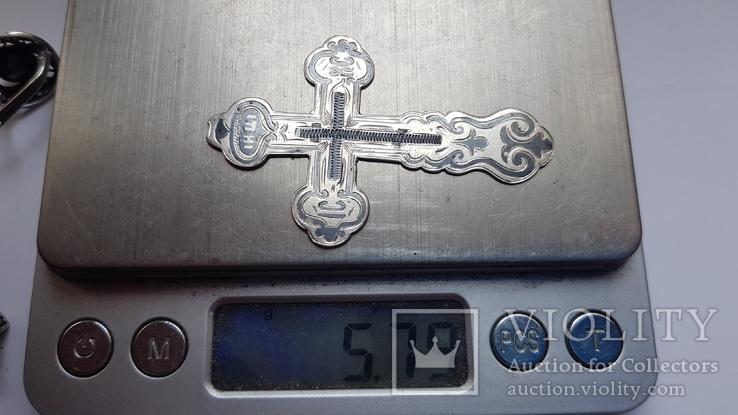 Крест нательный серебро 84 проба. Чернь, штихель. В реставрацию. Вес 5.76., фото №8